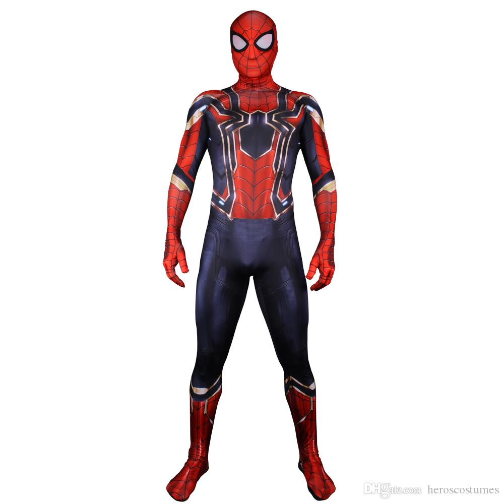 249f114e80a1e Iron Spiderman Costume 3D Pirnt Eye Lenses Spdierman Costume For Cosplay  Halloween Party Halloween Costumes Groups Four Person Halloween Costume  From ...