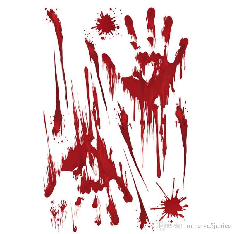 Grosshandel Halloween Auto Aufkleber Blutige Fingerabdruck Blooding