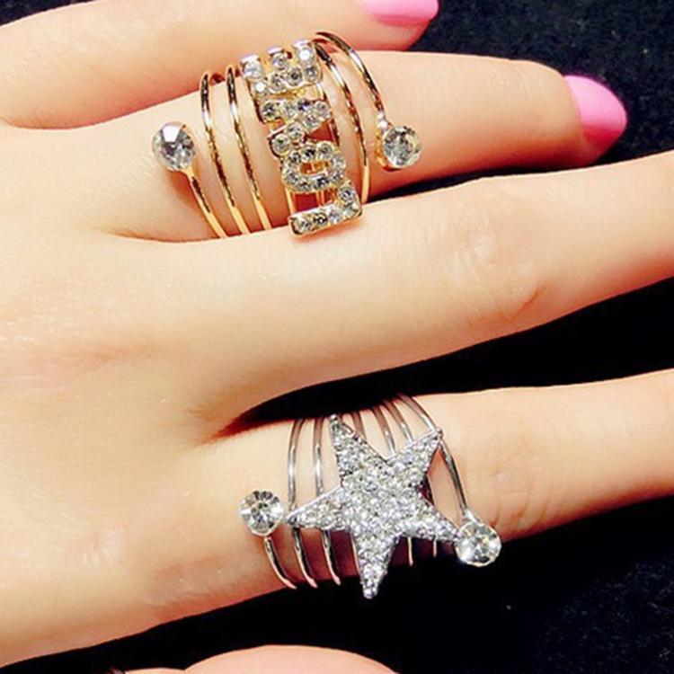 2018 Spring Ring Elegant Rhinestone Pentagram Star Love Spiral