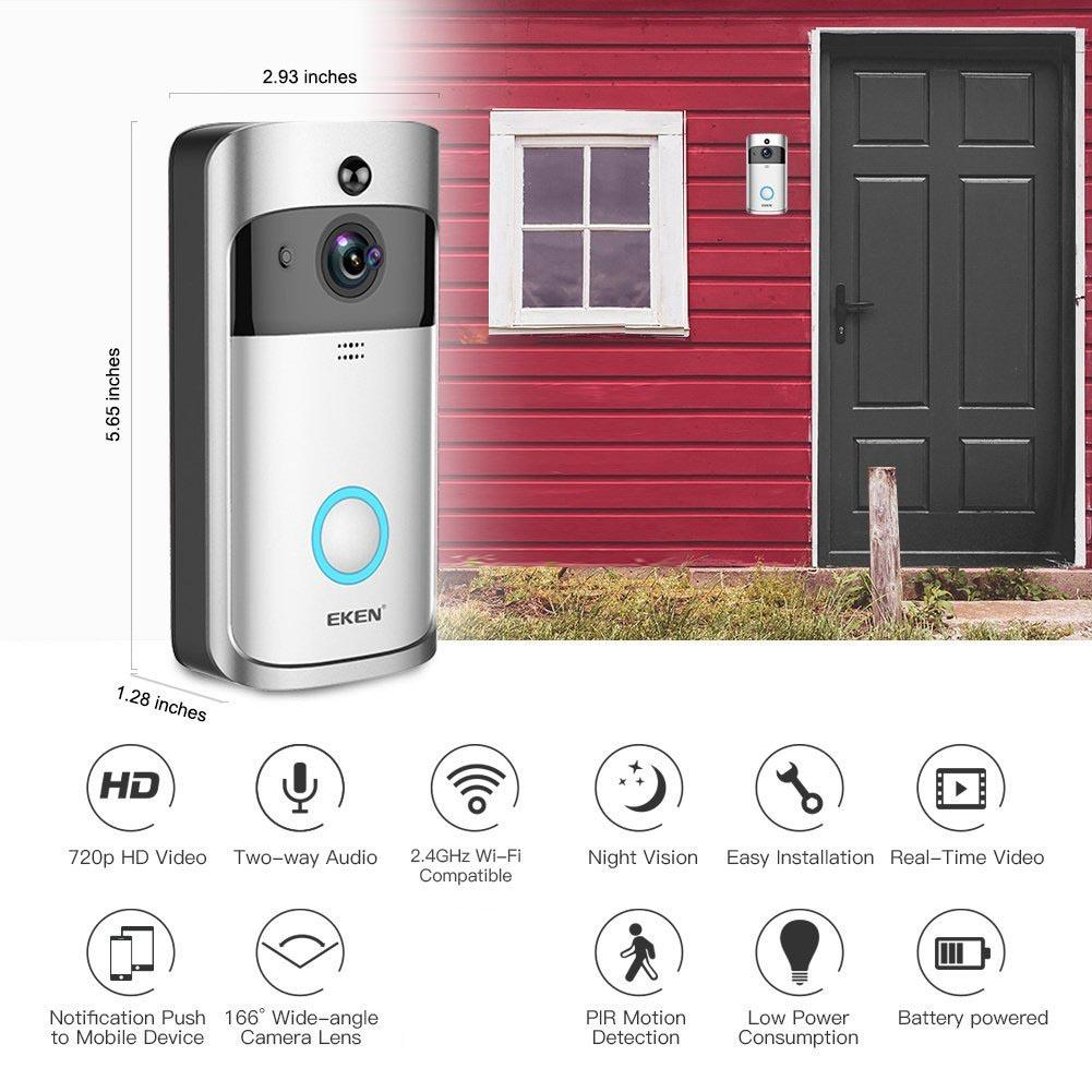 DHL EKEN Video Doorbell V5 Smart Home Door Bell Chime 720P HD Wifi Camera Real-Time Video Two-Way Audio Night Vision PIR Motion Detection