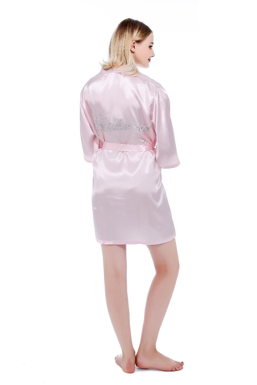 a684f5aa4641d5 Vestido De Dama De Honra Da Noiva Do Casamento Robe Strass Camisola  Negligee Feminino Kimono Sleepwear Sexy Nightwear Camisola S-XXL