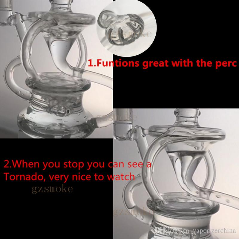 Recycler Oil Rigs Tornado Bong Inline Perc Glass Bongs Smoking Pipes Heady Dab Rig Cyclone Water Pipe with 4mm Thick Quartz Banger