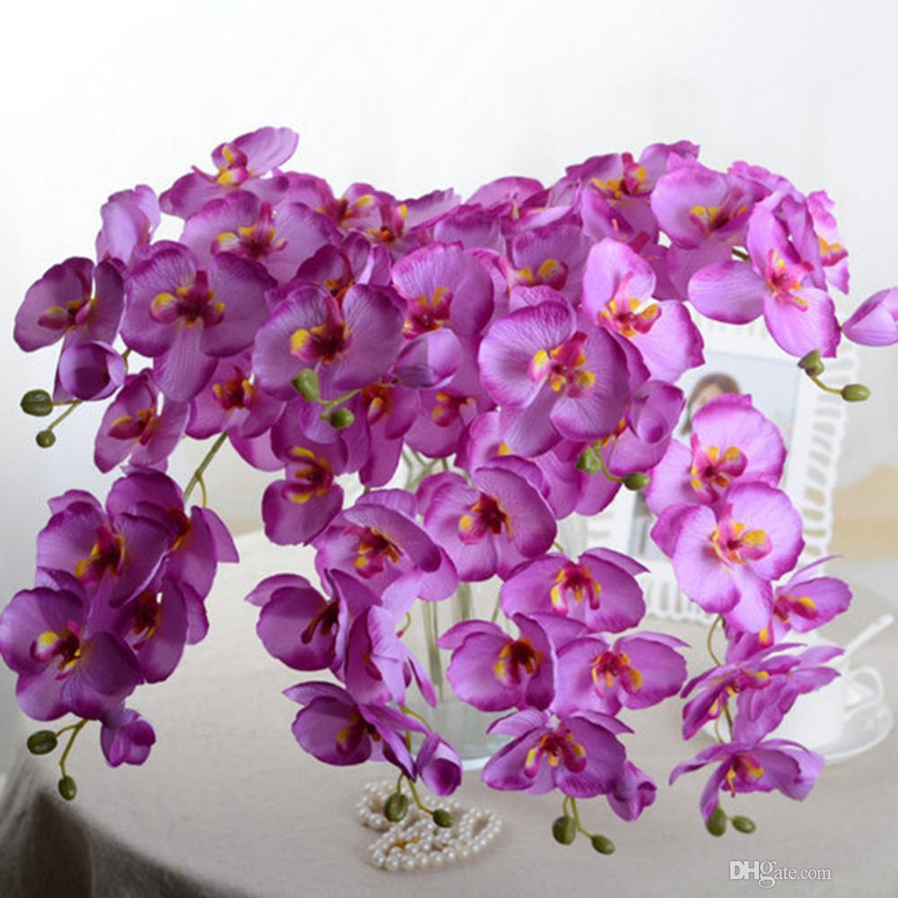 Diy flor decorativa flor de orquídea traça artificial casamento e decoração de casa flores decorativas grinaldas e5m1