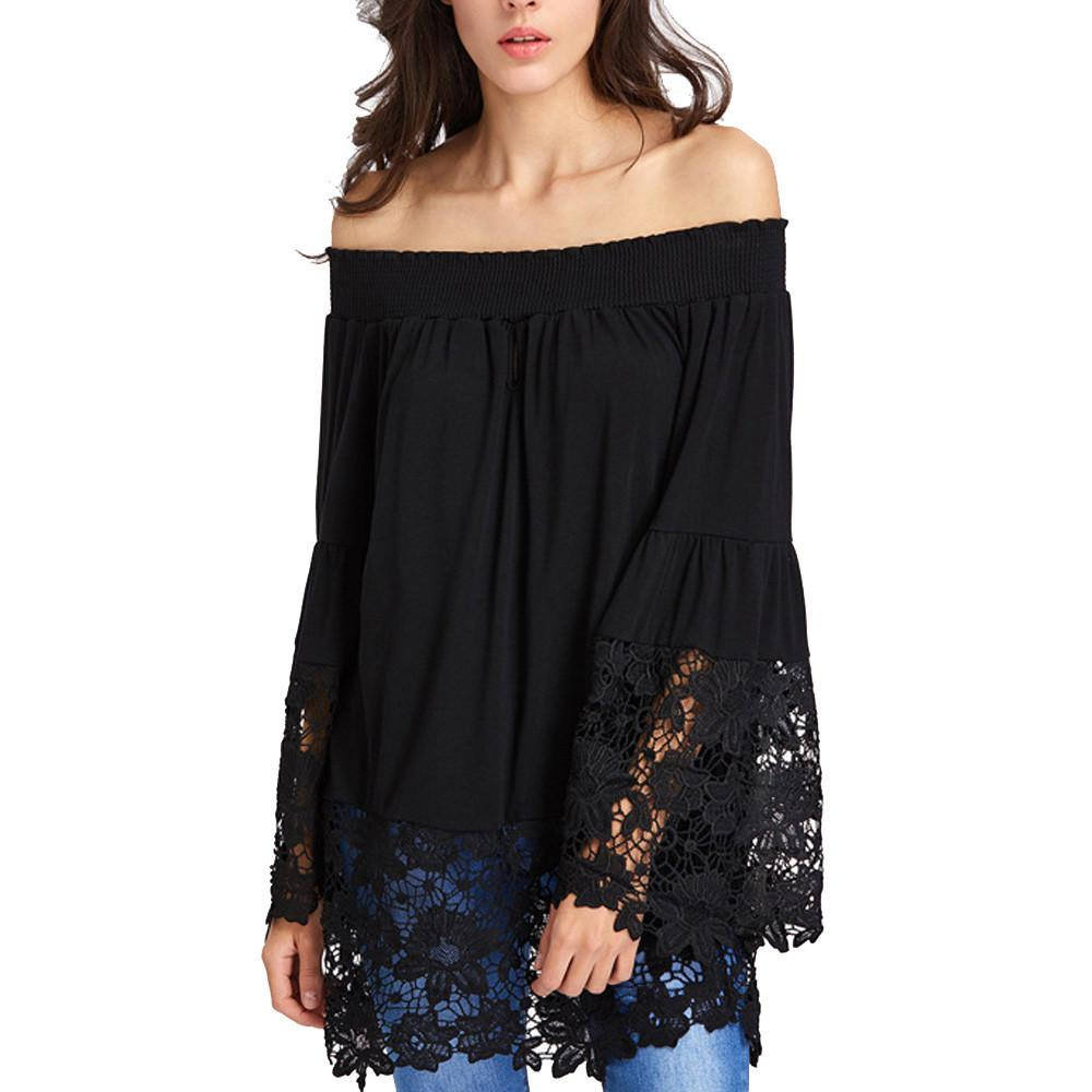 53e8b89ada735 2019 ISHOWTIENDA Women Shirt Off Shoulder Top Lace Blouse Long Sleeve 2018  Summer Autumn Blouse Patchwork Sexy Casual Female Blouses From Pamele