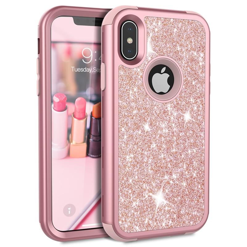 Grandever Case For IPhone 7 8 Plus 6 6s X Case Silicone PC Bumper Rose Gold  Bling Luxury Glitter Phone Case For Girls Women Best Cell Phone Cases Top  Rated ... 5cc72bb669