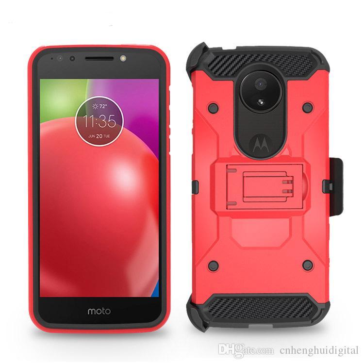 Heavy Duty Armor Hard Case pour LG Stylo 4 Motorola MOTO E5 jouer E5 plus Téléphone Case + Clip de ceinture Holster Kickstand TPU + PC antichoc