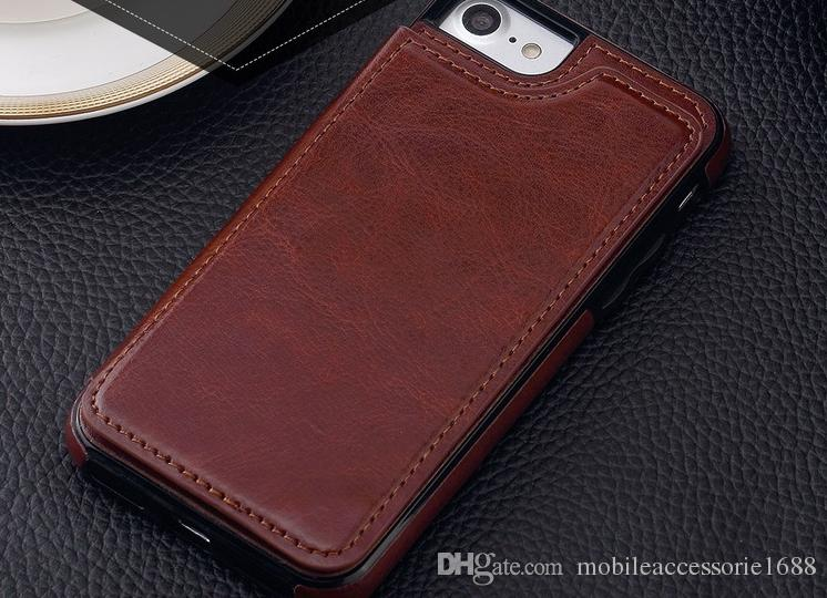 High quality leather cellphone moble case For iPhone X 8 7 6 5S Flip Stand Wallet Leather Case Phone Back Cover