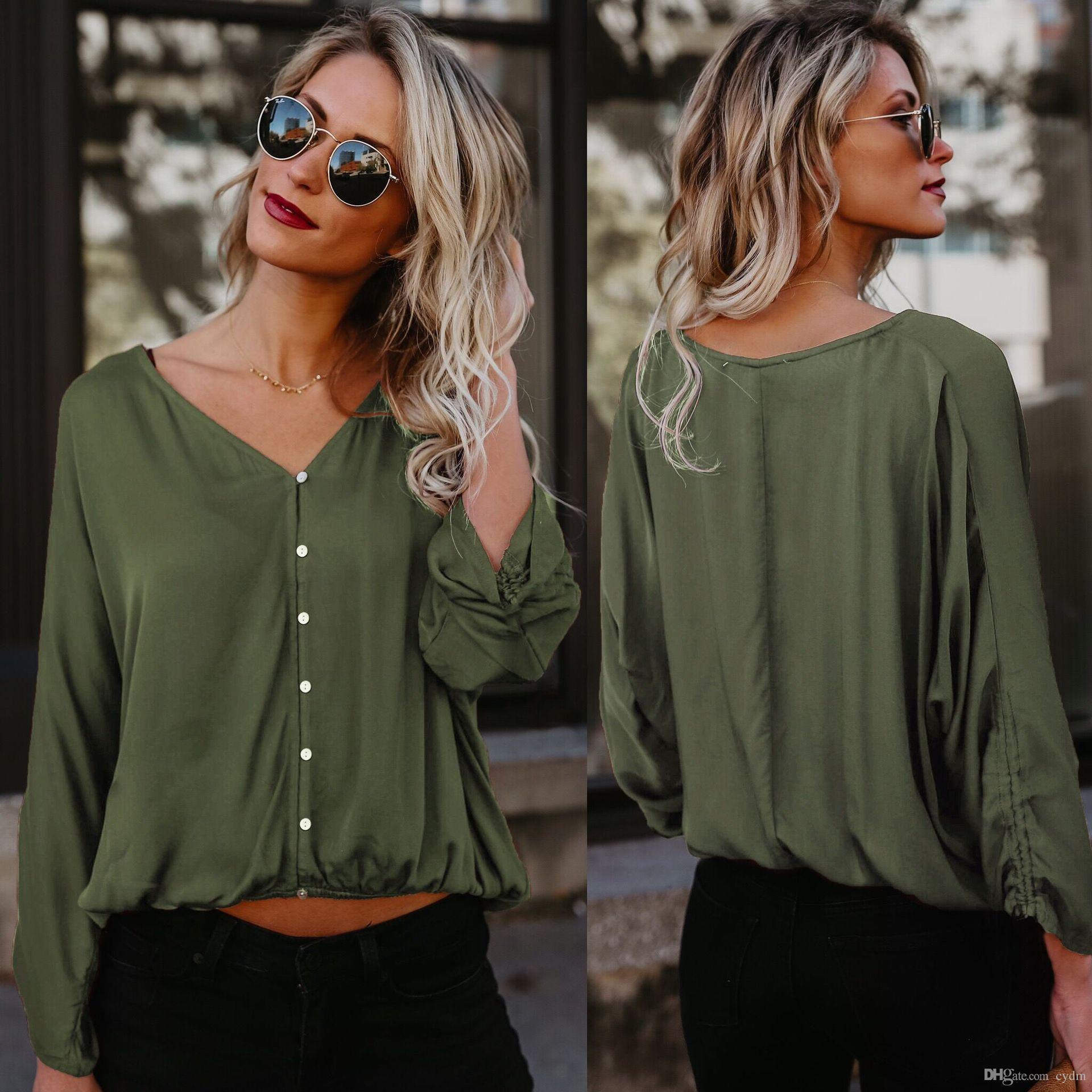 Cabeça de cor sólida quente Europeu com decote em V mangas morcego single-breasted camisa casual Preto, verde, vinho tinto, azul apoio lote misto