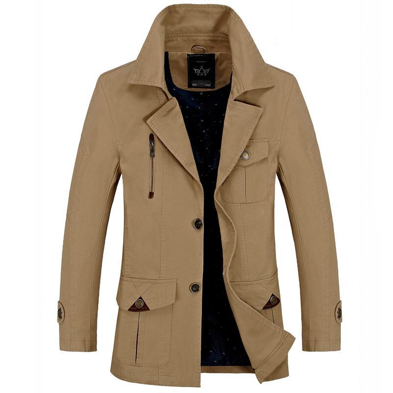 purchase cheap b5f0a a47b2 Trench Coat Uomo Classic Singal Petto Trench Abiti lunghi Giacche Cappotti  Cappotto British Style Abbigliamento maschile Outwear