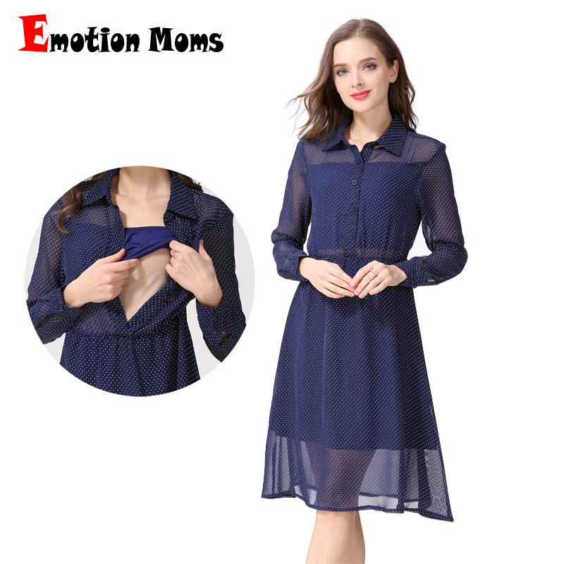 c3386665305 2019 Emotion Moms Long Sleeve Nursing Dress Breastfeeding Dresses For Pregnant  Women Maternity Dress Clothing Summer Spring From Benedicty