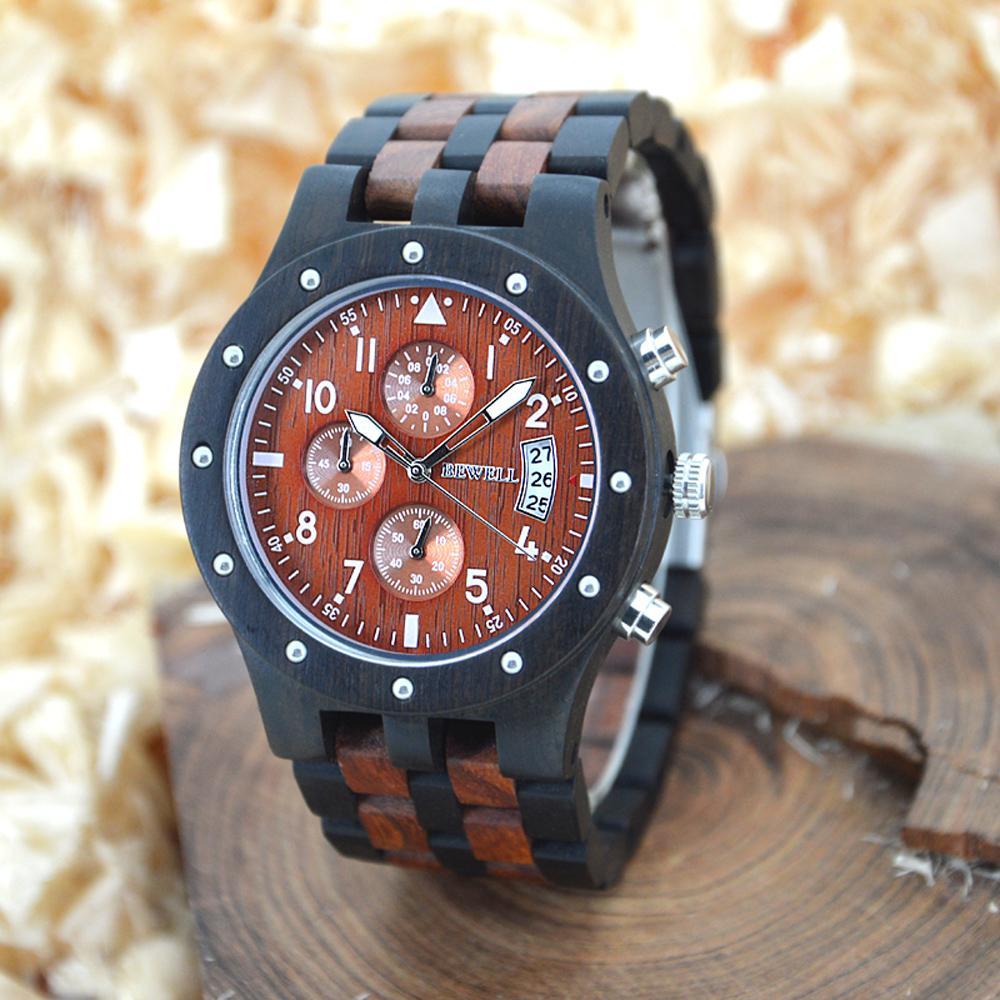d1b02c2d696 Compre BEWELL Relógio De Madeira Dos Homens De Madeira Do Vintage Dos  Homens Relógios De Três Mostradores De Data De Exibição De Quartzo Repair  Kit Relógio ...