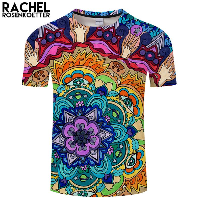 0c1c7932c952d Microcosmo Mandala Por Rachel RosenkoetterArt 3D Impressão T shirt Mulheres  Verão Casual Manga Curta TopTee Menino Tshirt Streetwear Gota