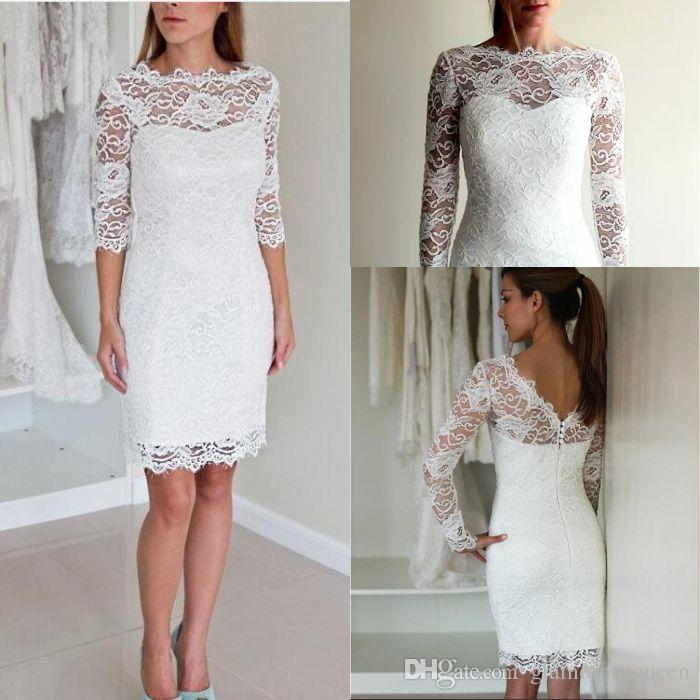 Short Sheath Lace Wedding Dresses 2019 Off The Shoulder Long Sleeves Fitted Informal Reception Bridal Gowns Custom Real Photo Weddings & Events