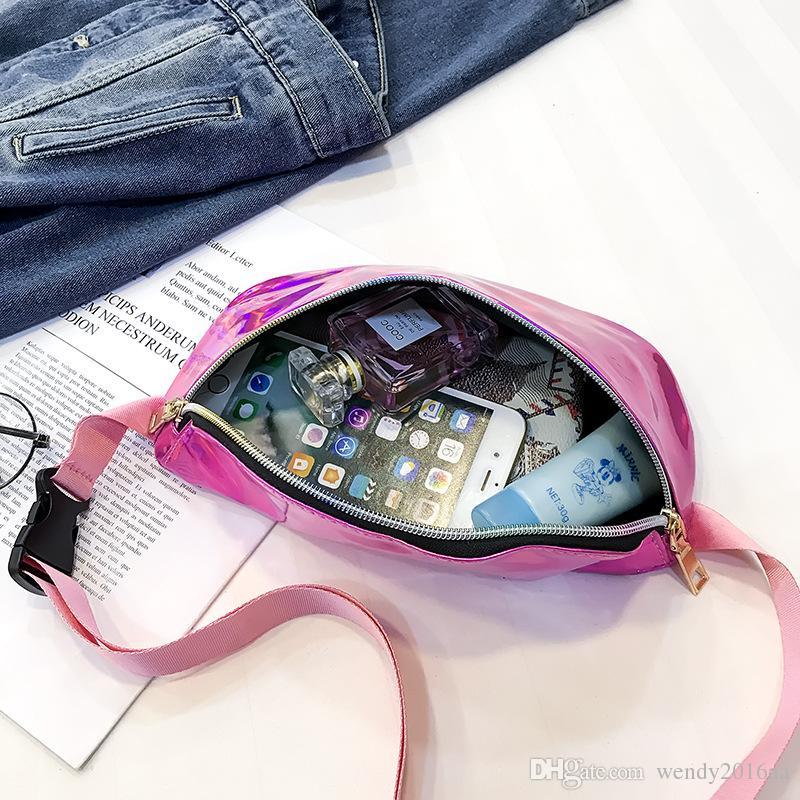 Laser Fanny Pack Hologram PU Metallic Waterproof Beach Waist Bags Women Zipper Small Travel Bag