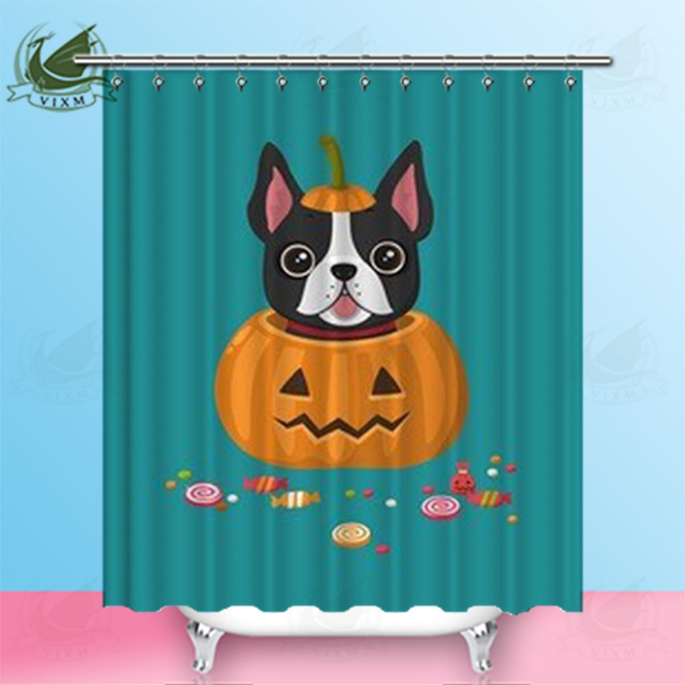 2019 Vixm Home French Bulldog Fabric Shower Curtain Pumpkin Puppy And Candy Bath For Bathroom With Hook Rings 72 X From Bestory 1665
