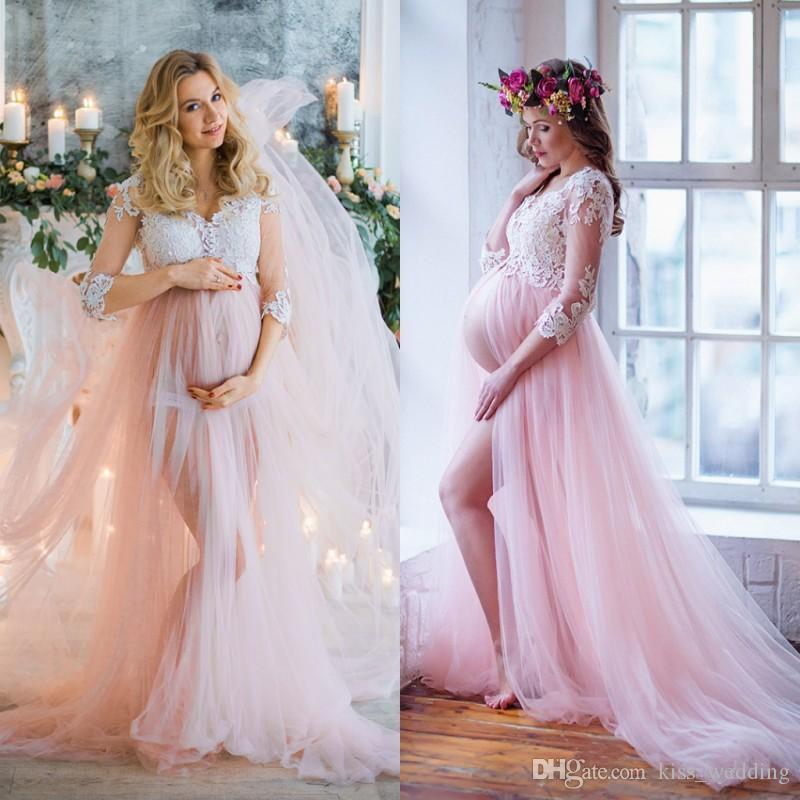 Modest Front Split Boho Wedding Dress Vestido de novia Sheer 3/4 Sleeves Lace Maternity Dress Pink Tulle Bridal Gown for Pregnant V-Neck