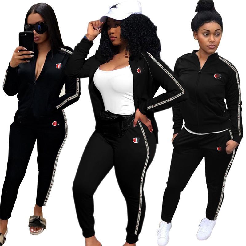 b494deb622e 2019 Women Champions Letter Print Tracksuit Long Sleeve Hoodie Zipper Sweatshirt  Coat Pants Leggings Set Jogger Outfit Sportswear Clothes From Sweet_moon,  ...