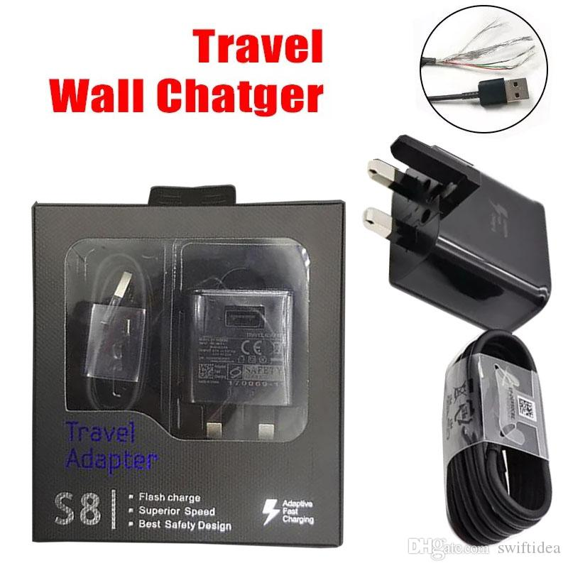 Top Quality Uk Plug S8 Fast Usb Wall Charger For Samsung Galaxy S7 Edge S 9 Travel Phone Chargers Retail Package Samsung Fast Charger Fast Charger