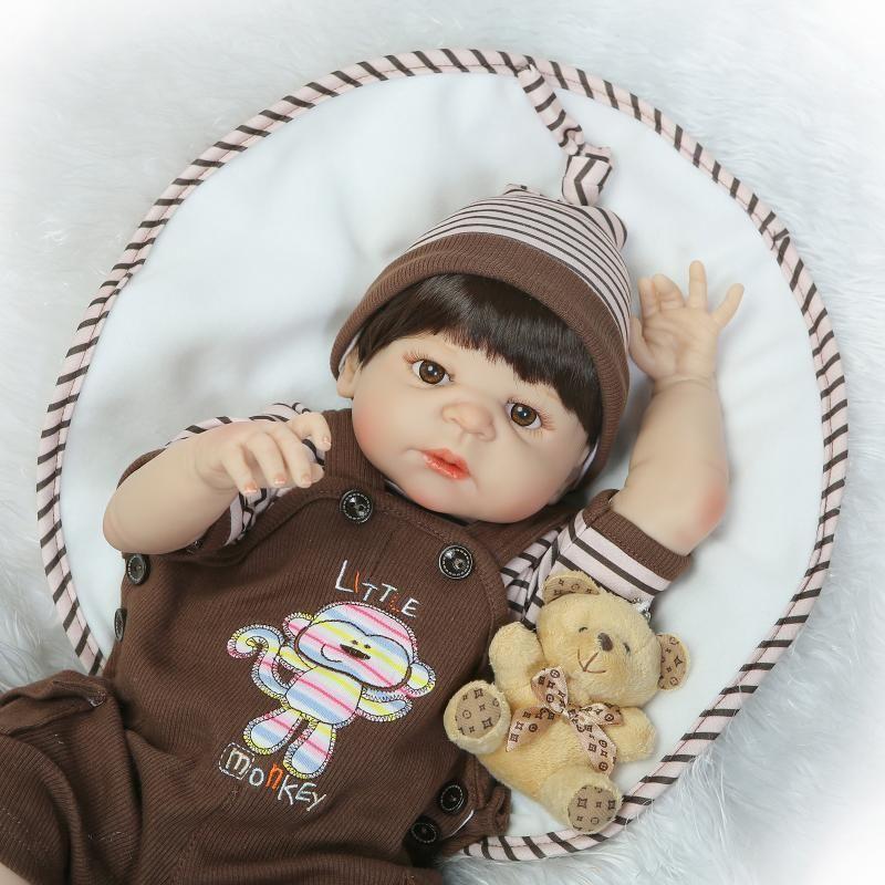 "23""Full Silicone Bebe Reborn Baby Boy Princess Dolls Lifelike Newborn Babies Alive Doll for Child Bath Shower Girl sleeping Toy Doll"