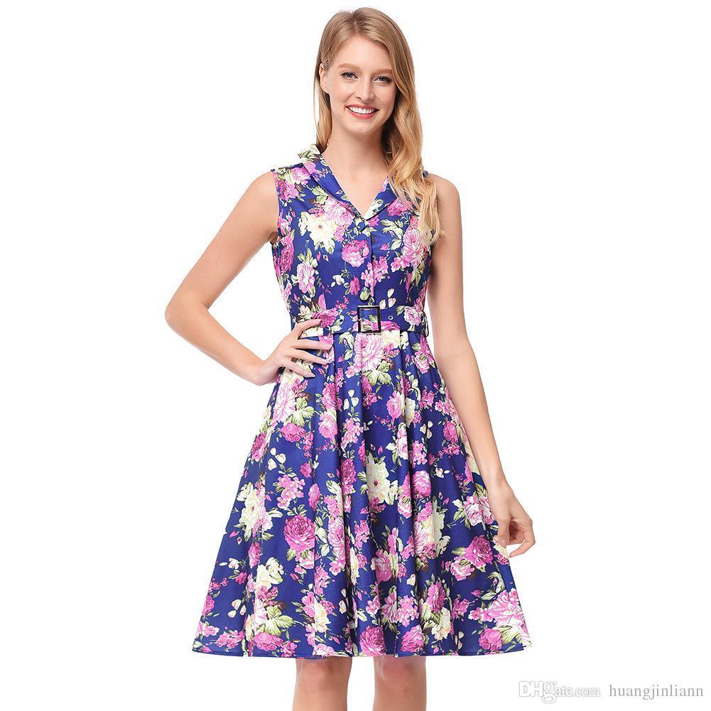 616b4435b8858 2018 New Arrival Women's Fashion Dresses Summer Floral Dresses Sleeveless  Floral Print Dresses for Women