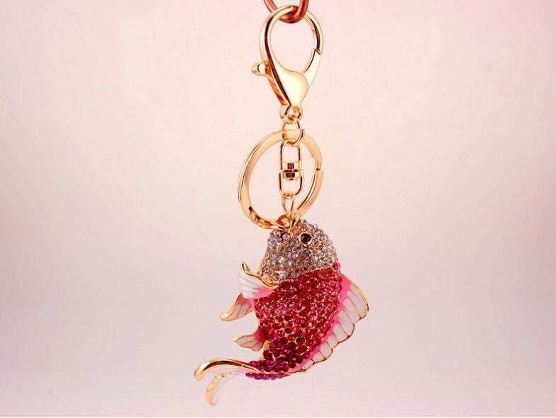 Rose Red Carp Fish Womens Keychains Key Chain Sparkling Crystal Rhinestone  Luxury Keychain Keyring Handbag Pendant Bag Charm Self Defense Keychain Key  Case ... 4bfbfc728c