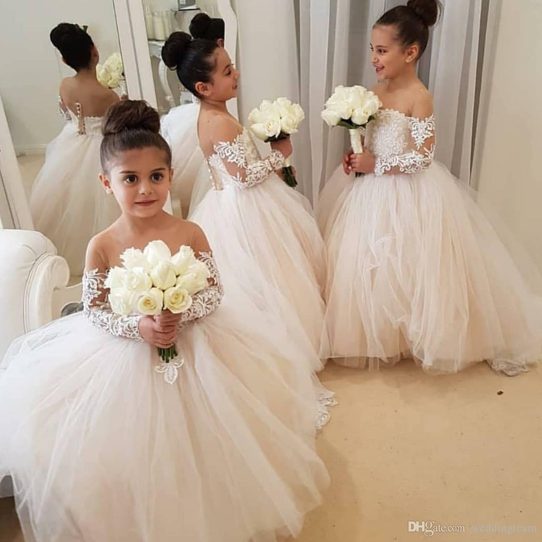 990c9e555e75f Stylish Lace Ball Gown Flower Girl Dresses For Wedding Sheer Jewel Neck  Toddler Pageant Gowns With Long Sleeves Tulle Kids Prom Dress