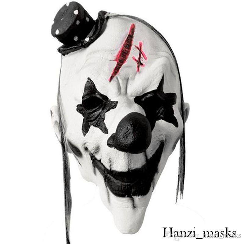 Hanzi_masks Black/White Scary Clown Mask Full Face Cosplay Horror  Masquerade Adult Ghost Mask Halloween Props Costumes Fancy Dress Party
