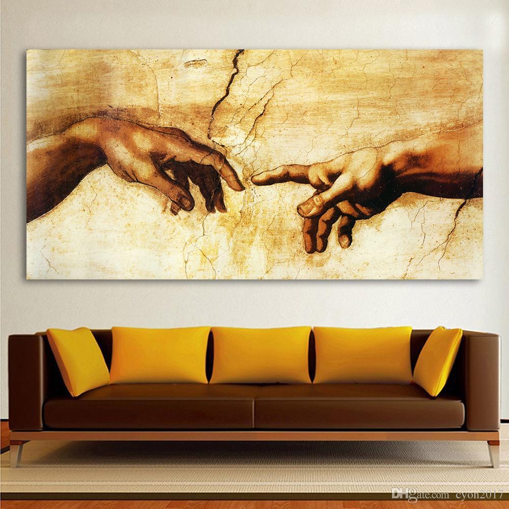 2018 Classic Painting Decorative Canvas Art Michelangelo Creation Of ...