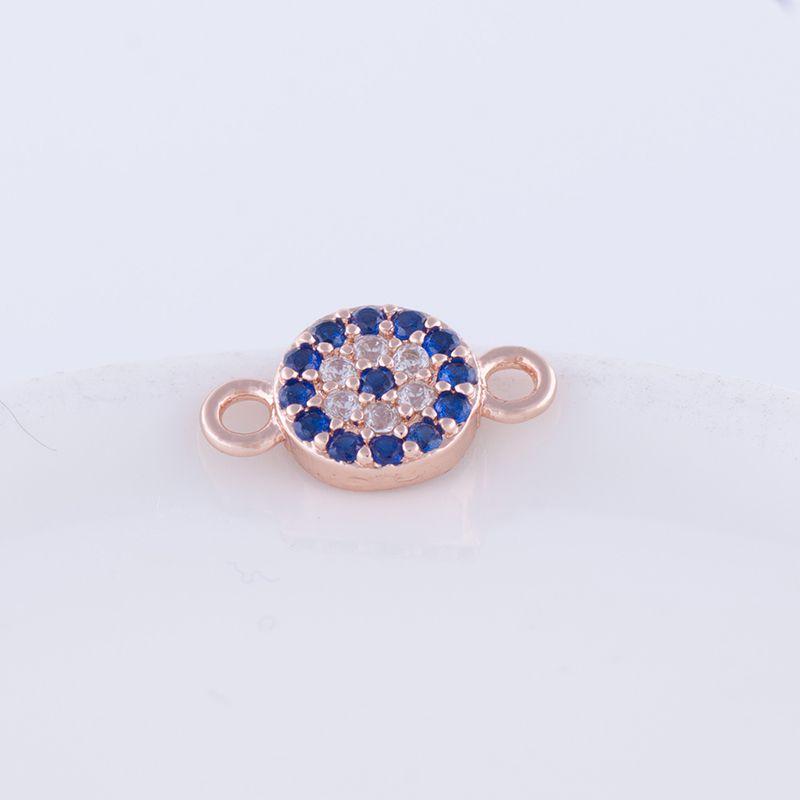 Wholesale Jewelry Handmade DIY Accessories Zircon Copper Evil Eye Connectors Charms Components Pendant Bracelet Necklace Clasps Findings Fit