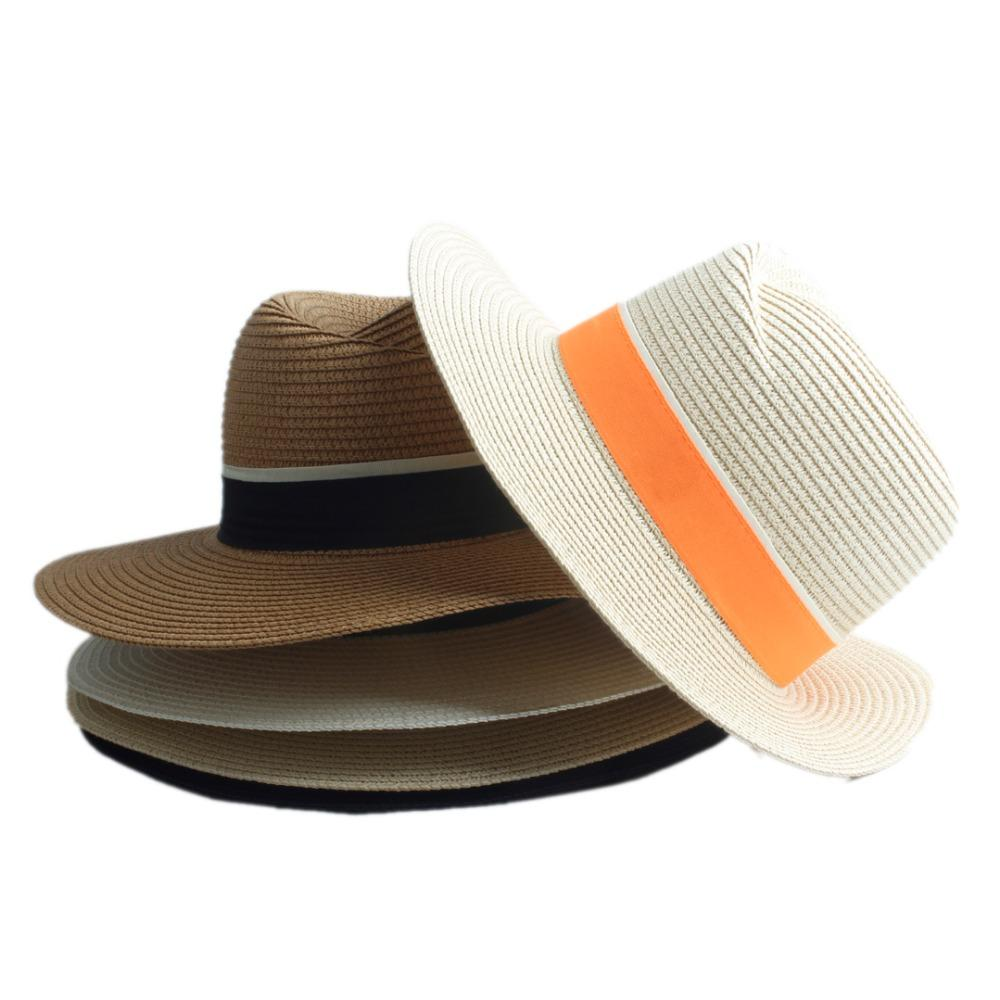 c08be872452 Fashion Women Straw Wide Brim Sun Hat Woman Summer Fedora Cap Sunhat Trilby  Panama Hat Gangster Sombrero Cap 20 Straw Cowboy Hats Sun Hats For Men From  ...