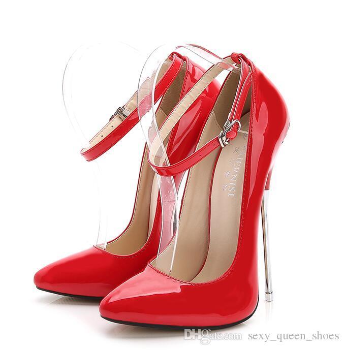 Scarpe cosplay uomo steletto fetish 16cm punta affilata Mary Janes Scarpe décolleté con cinturino alla caviglia con punta a spillo Tacco in metallo BDSD BDSM Tacchi alti nero rosso