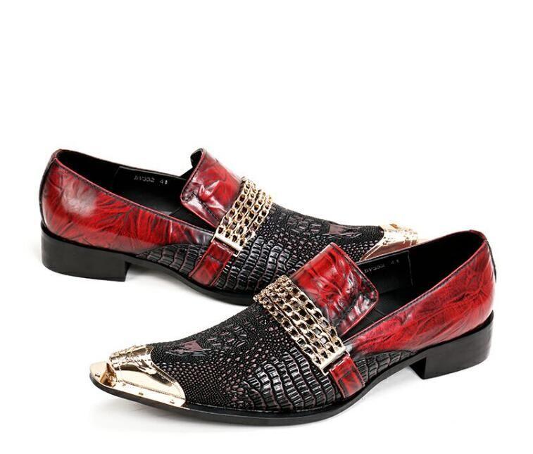 2018 Hot Style Luxury Men Dress Shoes Handmade Slip On SnakeSkin Italian Wedding Flats Scarpa Moda Uomo Business mocassino N96