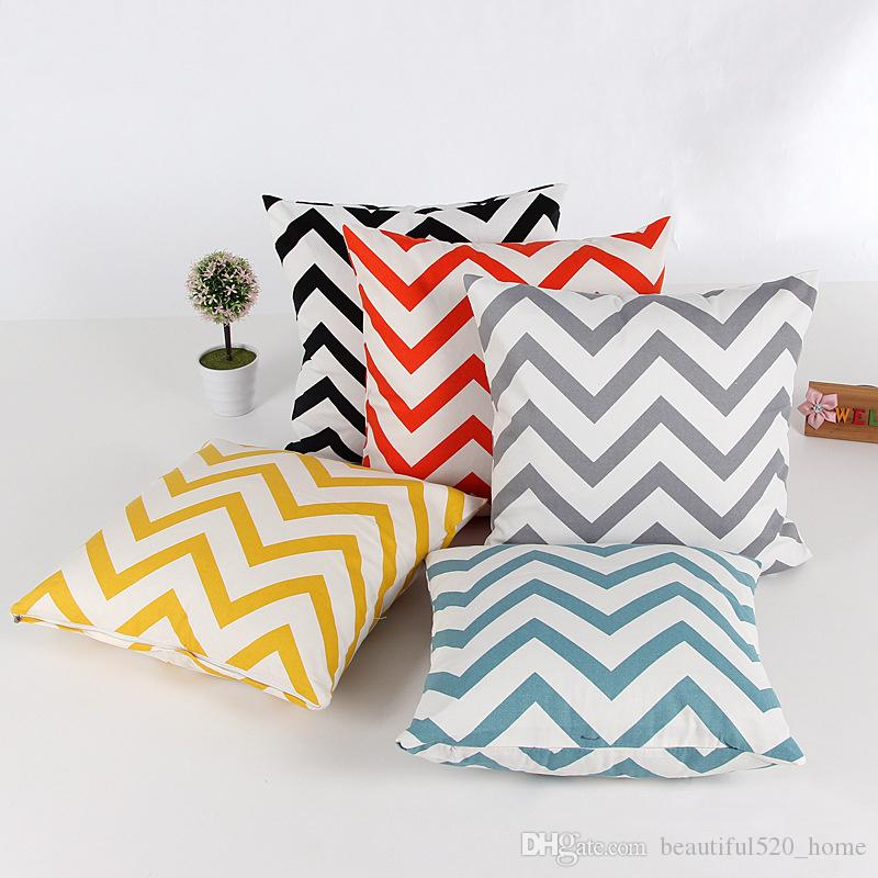 Wave Printed Square Pillow Cases Canvas Cotton Sofa Deorative Cushions 45cm x 45cm Throw Pillow Covers BH18008