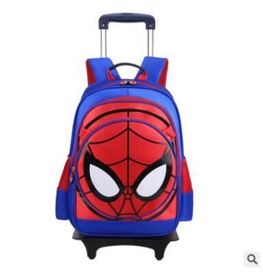 Spiderman Kids Boy Rolling School Book Pack Trolley Bags Luggage Wheels Backpack