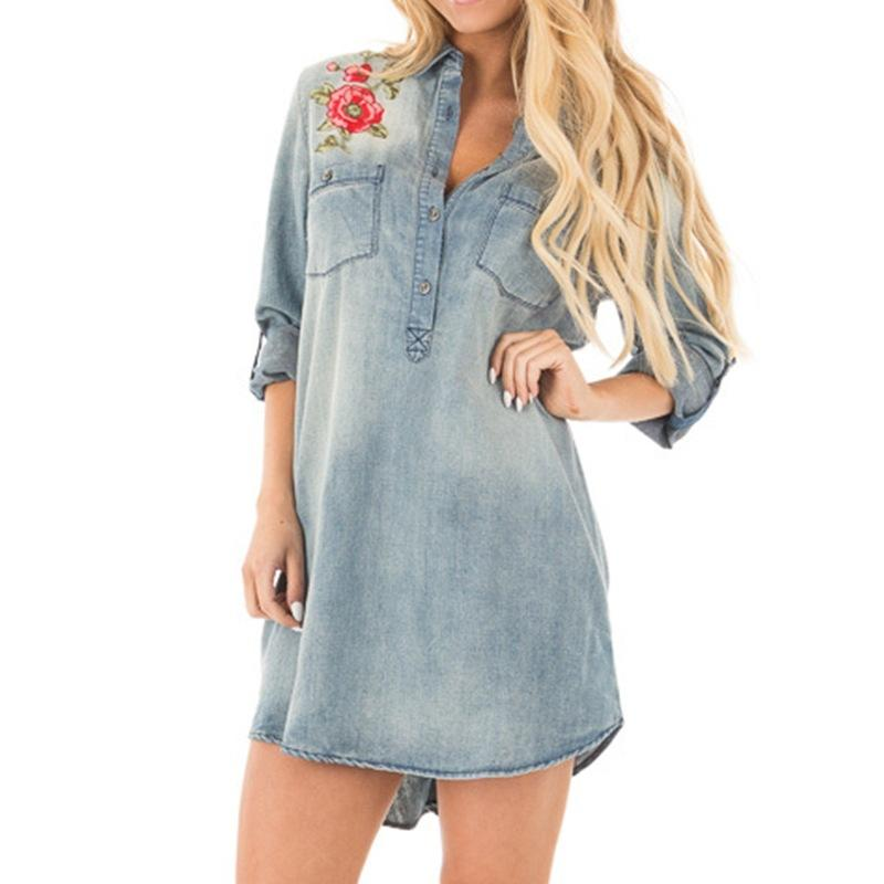 d348554cd5 Women 2018 Fashion Mini Denim Shirt Dress Embroidery Floral Long Sleeve  Turn Down Collar Casual Dresses WS6753M Denim Shirt Dress Shirt Dress  Casual Dress ...