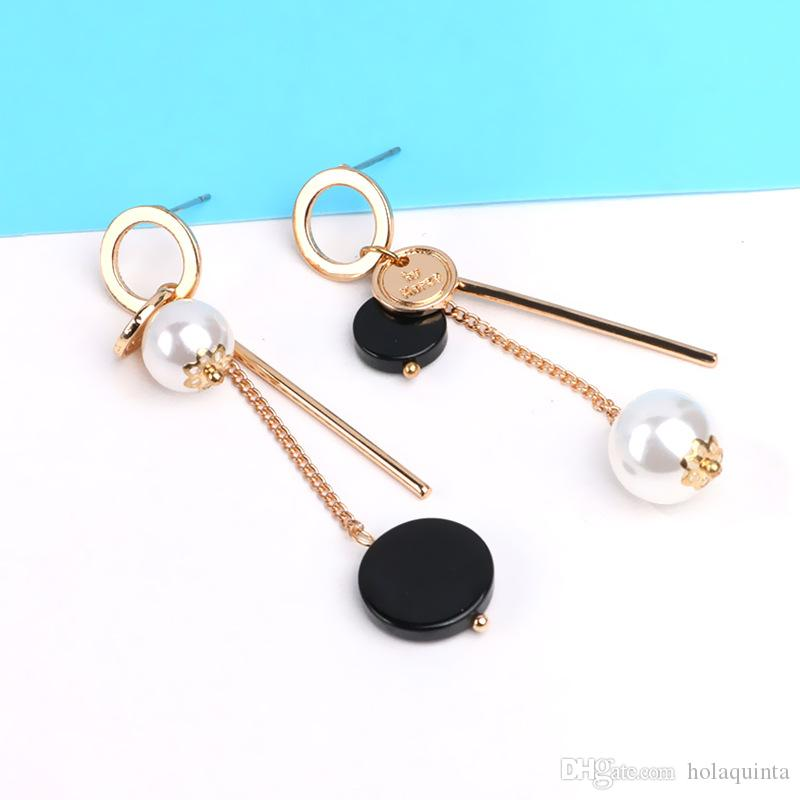 Trendy Ab Design Marble Long Earrings For Women 2017 Round Circle Fashion Jewelry Wholesale Cute Gift