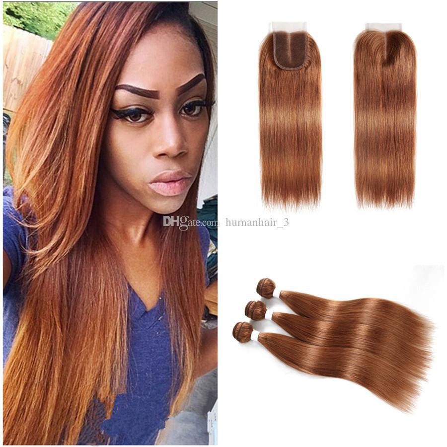 2018 Brazilian Virgin Hair Color 30 Light Auburn Straight Bundles