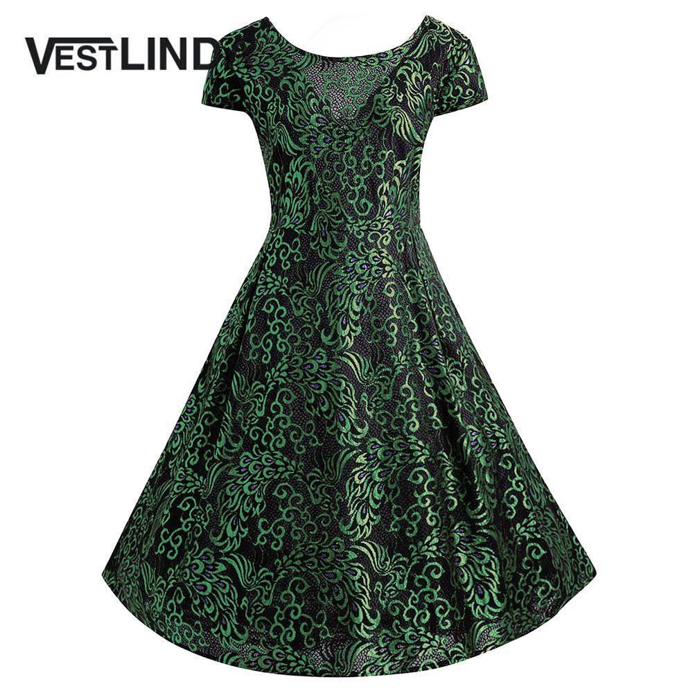 VESTLINDA Plus Size Jacquard Lace Vintage Midi Rockabilly Dress Women New  Fashions Party Short Sleeve Autumn Vestidos De Fiesta