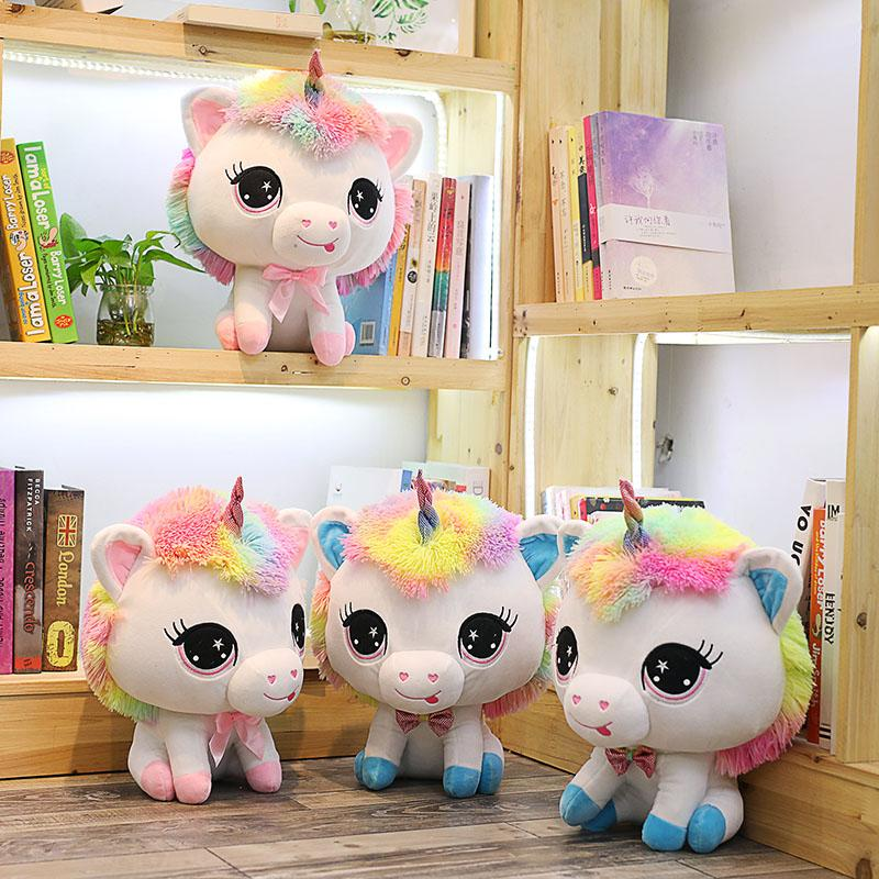 e1739c07f8c 2019 35cm Colorful Big Head Unicorn Plush Toys Cute Unicorn Couples Stuffed  Kawaii Soft Plush Toys For Girls Valentine Gift Kids From Anna88888