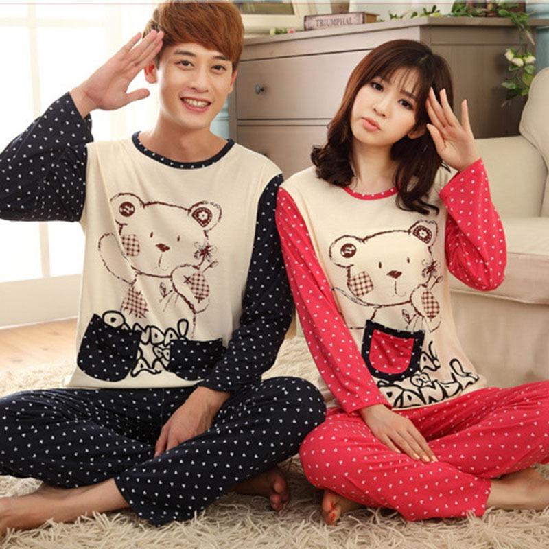 2019 M 3XL Long Sleeve Sleepwear Men Lounge Pijama Couple Pajamas Set  Autumn Spring Cotton Fabric Cartoon Women Pyjamas Plus Size From  Instrumenthome d20087c57
