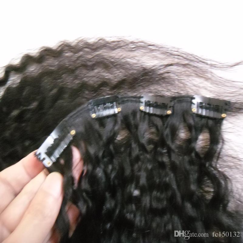 10 قطع 120 جرام غريب مستقيم كليب في الشعر الإنسان البرازيلي ريمي الشعر 100٪ شعرة الإنسان الطبيعي الخشنة ياكي كليب ins الطبيعي الأسود