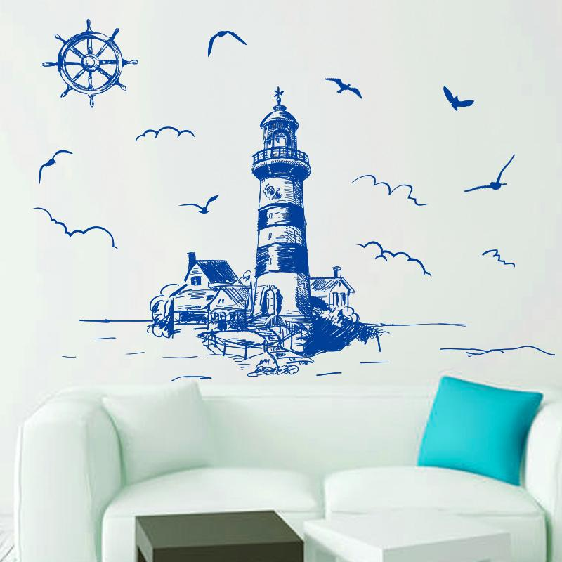 blue color lighthouse birds wall sticker pvc material diy mural art