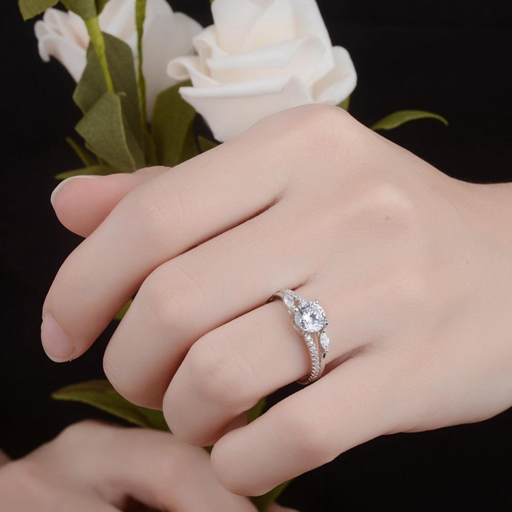 2018 Fashion Jewelry 925 Silver Ring Aaa Zircon Engagement Wedding ...