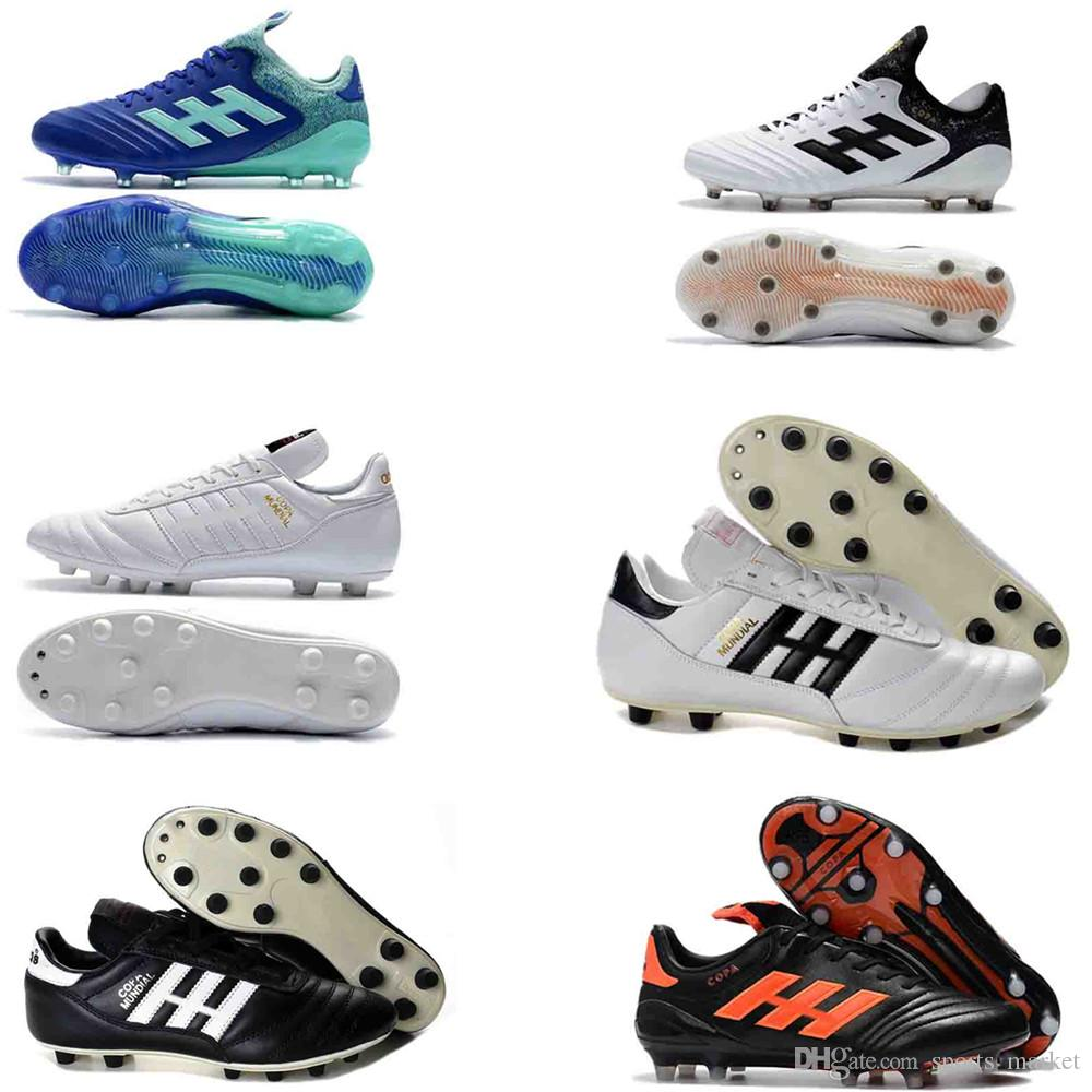 3144ad36f 2019 Mens Copa Mundial Leather FG Soccer Shoes Discount Soccer Cleats 2015  World Cup Football Boots Size 39 45 Black White Orange Botines Futbol From  ...