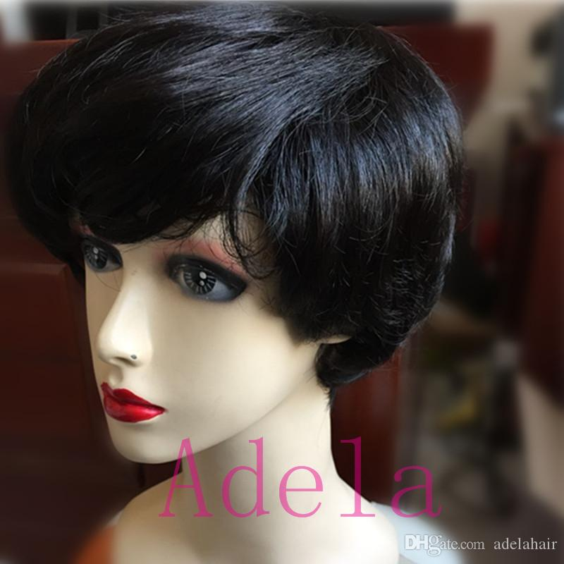 Ucuz kısa huaman Siyah Kadınlar için Saç ile Saç Peruk ön Siyah kadınlar yok dantel İnsan Saç Kısa Siyah Peruk