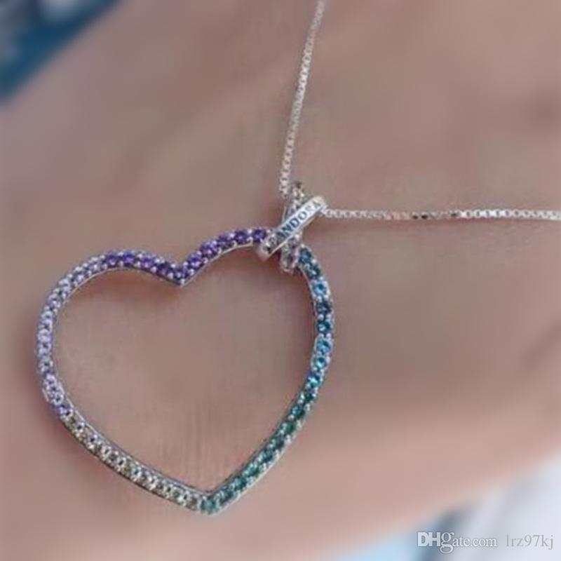f6099db0a Wholesale High Quality 925 Sterling Silver Multi Colored Heart Necklace  With CZ For European Pandora Style Charms And Beads Pendants Small Pendant  Necklaces ...