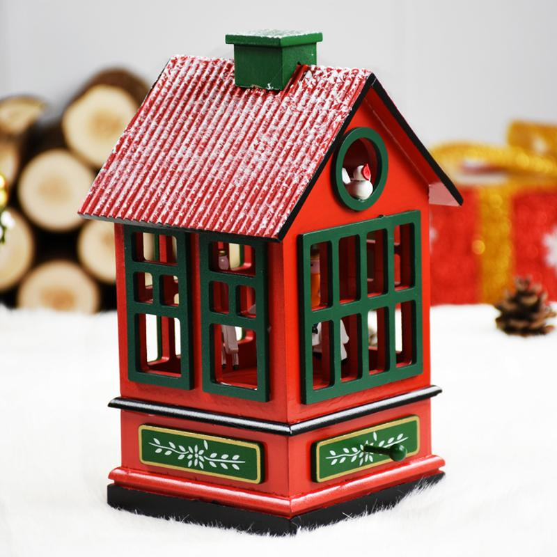 New Year Birthday Gift House Shape Wooden Music Box Christmas Decorations For Home Office Desktop Decor Ornaments Musical Boxes Decoration Xmas