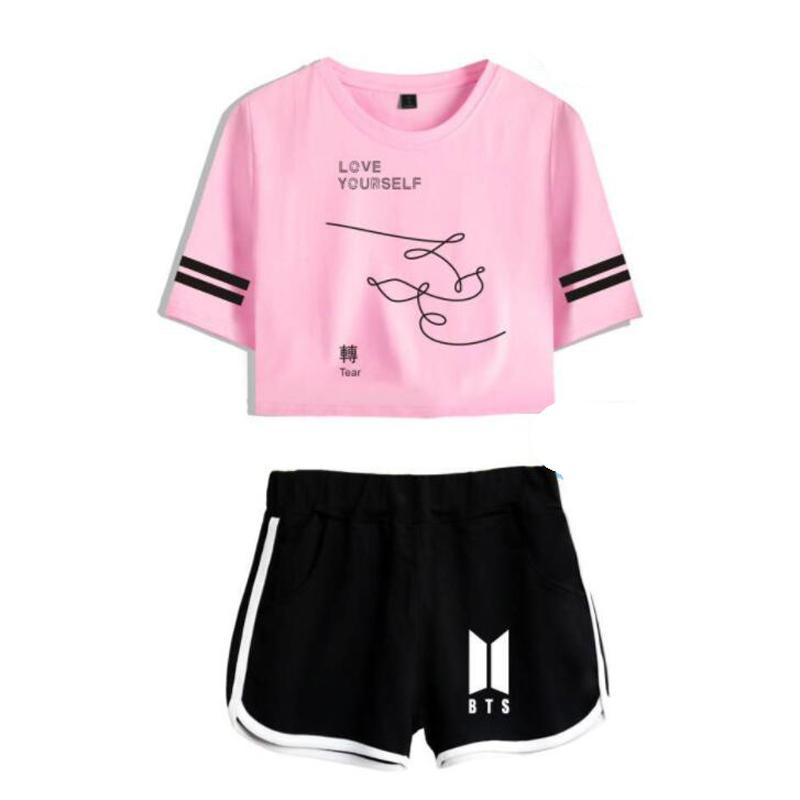 2019 Kpop Bts Love Yourself Tear Two Piece Set Women Suits Short
