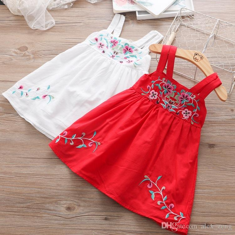 Summer Baby Girls Dress Baby FashionEmbroidered Suspender Dresses 2018 New INS Kids Flower Dress Toddler Clothing Children Clothes