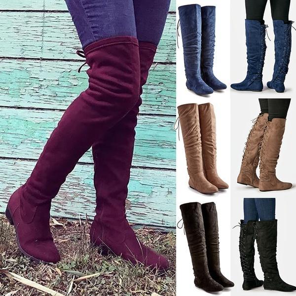 Compre Las Mujeres De Moda De Gamuza Sintética Sobre La Rodilla Botas Largas  Ata Para Arriba Las Botas Largas Del Muslo Zapatos Casuales De Falt  Invierno ... f817d453c8995